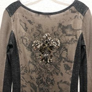 Miss Me | Embellished Thermal Henley Shirt